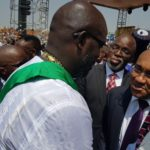 NFF Boss Pinnick and CAF Executives attend Ex- Ballon d'Or winner George Weah sworn in as Liberia president