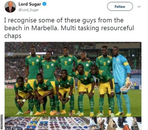 Lord Sugar criticised for Senegal 'beach sellers' tweet