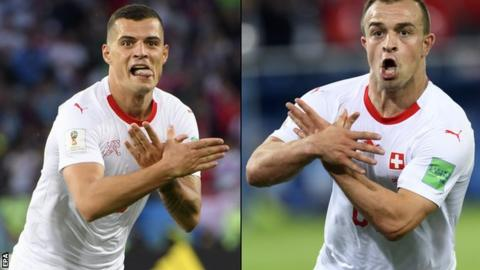 Switzerland duo investigated over 'eagle' celebrations