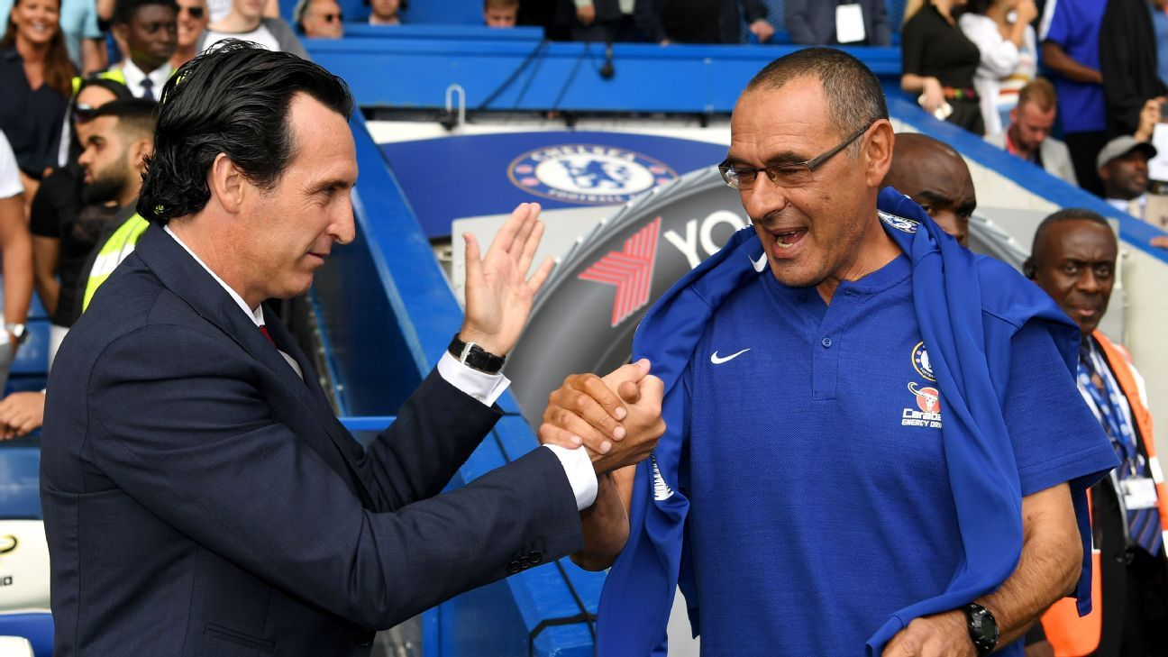 Maurizio Sarri has advantage over Unai Emery in top-four battle