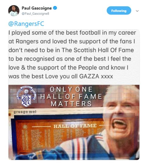 'No hard feelings' - Gascoigne responds after Scottish Hall of Fame snub