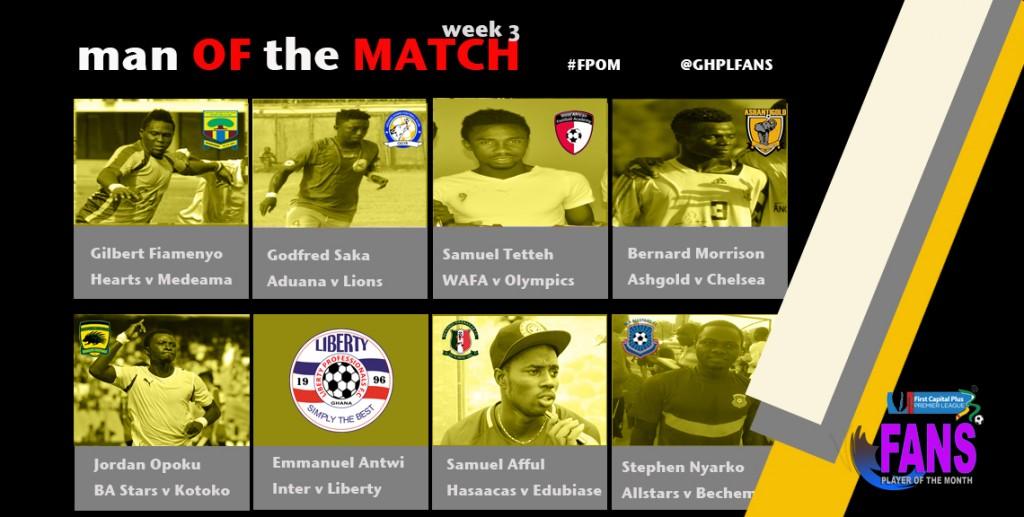 Ghana Premier League Week 3 Man of the Match winners