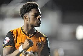 On-loan Arsenal forward Chuba Akpom celebrates Hull City victory over Ipswich