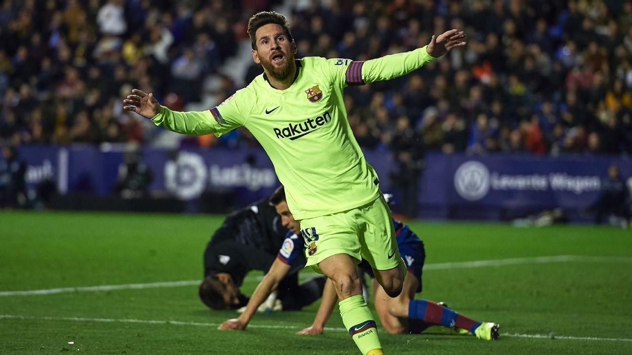Lionel Messi bags hat trick, Gerard Pique stars as Barcelona enact revenge on Levante