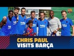 NBA star Chris Paul visits Barça's training session